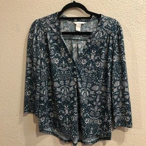 H&M Green Floral 3/4 Quarter Sleeve